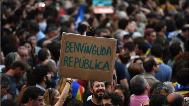 Protesta a favor de la independencia de Cataluña