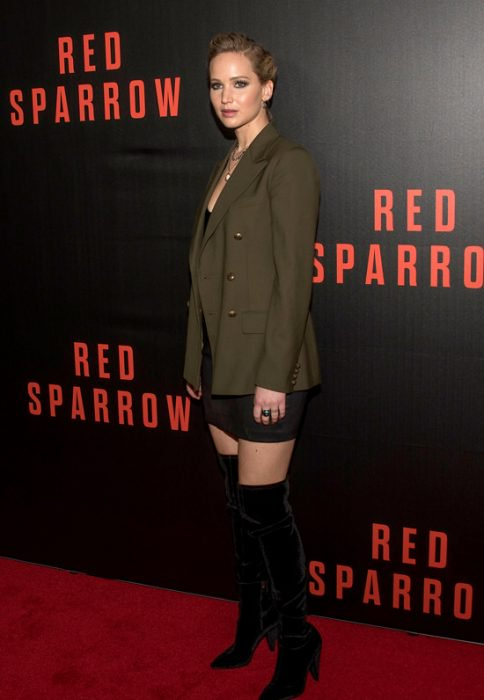 Jennifer Lawrence en promoción de Red Sparrow