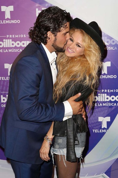 CORAL GABLES, FL - APRIL 28:  Gerardo Bazua and Paulina Rubio are seen backstage at the Billboard Latin Music Awards at the Bank United Center on April 28, 2016 in Coral Gables, Florida.  (Photo by Alexander Tamargo/Getty Images)