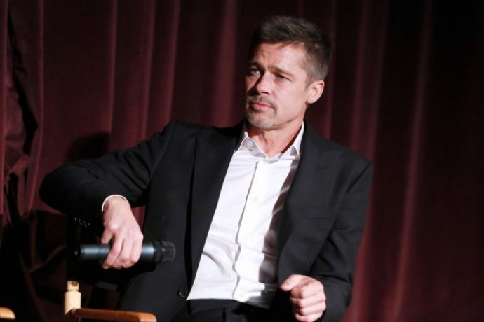 "WESTWOOD, CA - NOVEMBER 09: Actor Brad Pitt during a Q&A at a LA Fan event for the Paramount Pictures title ""Allied"" at Regency Village Theatre on November 9, 2016 in Westwood, California. (Photo by Jonathan Leibson/Getty Images for Paramount Pictures International)"