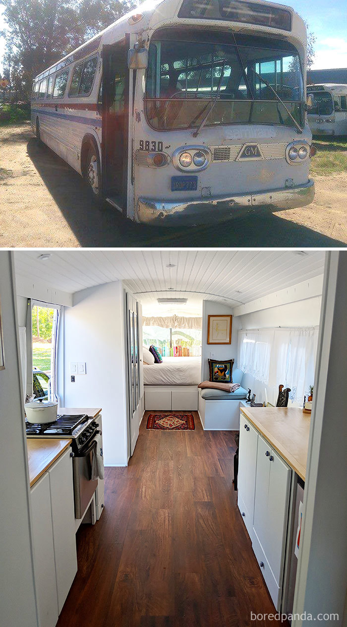 We Converted A 1966 Greyhound Commuter Bus Into A Cute Mobile Home
