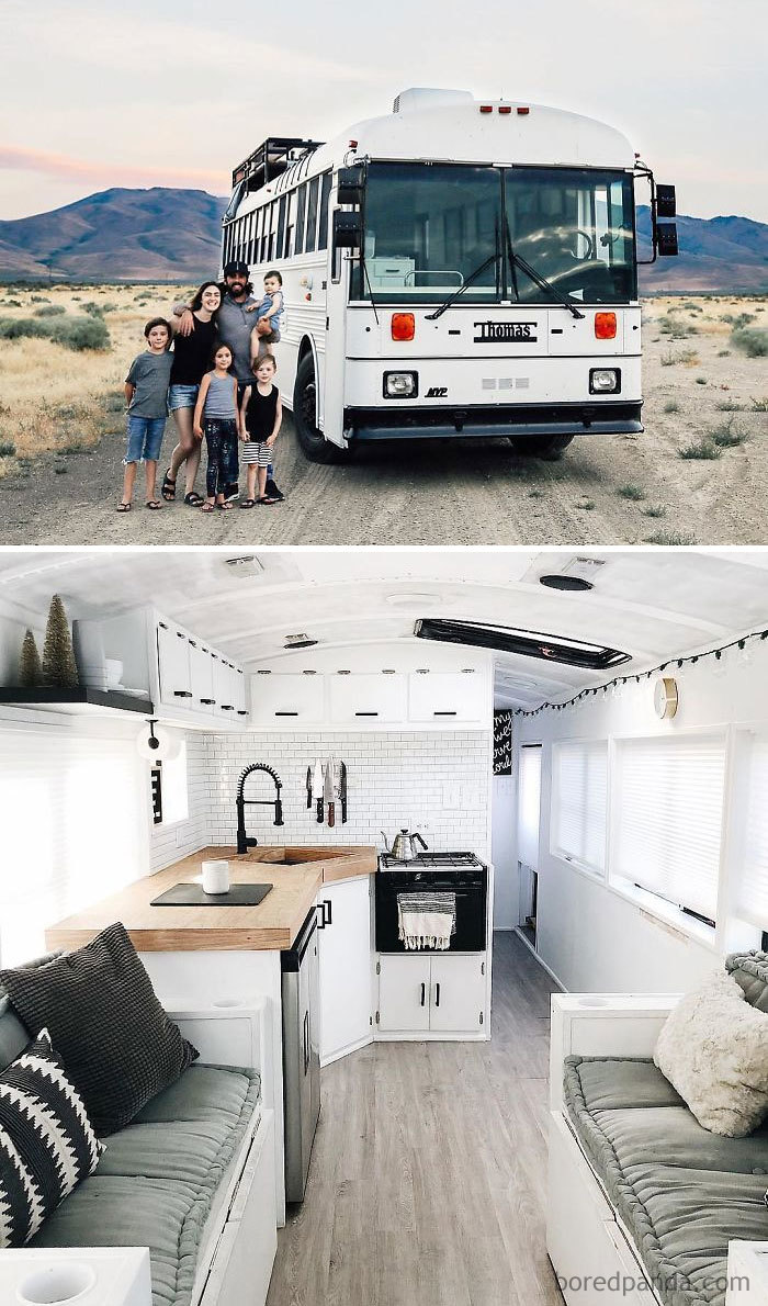 "We Were Living In A 5000 Sq Ft House Sick Of Living The ""Normal"" Life That Everyone Thought We Should So We Packed Our 4 Kids Into A 250 Sq Ft Converted School Bus And Headed West And We're Loving It"
